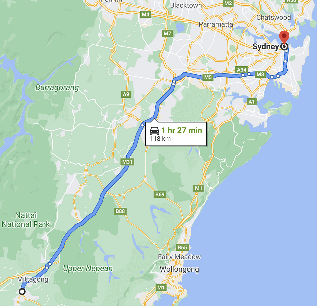 sydney-to-bowral-map